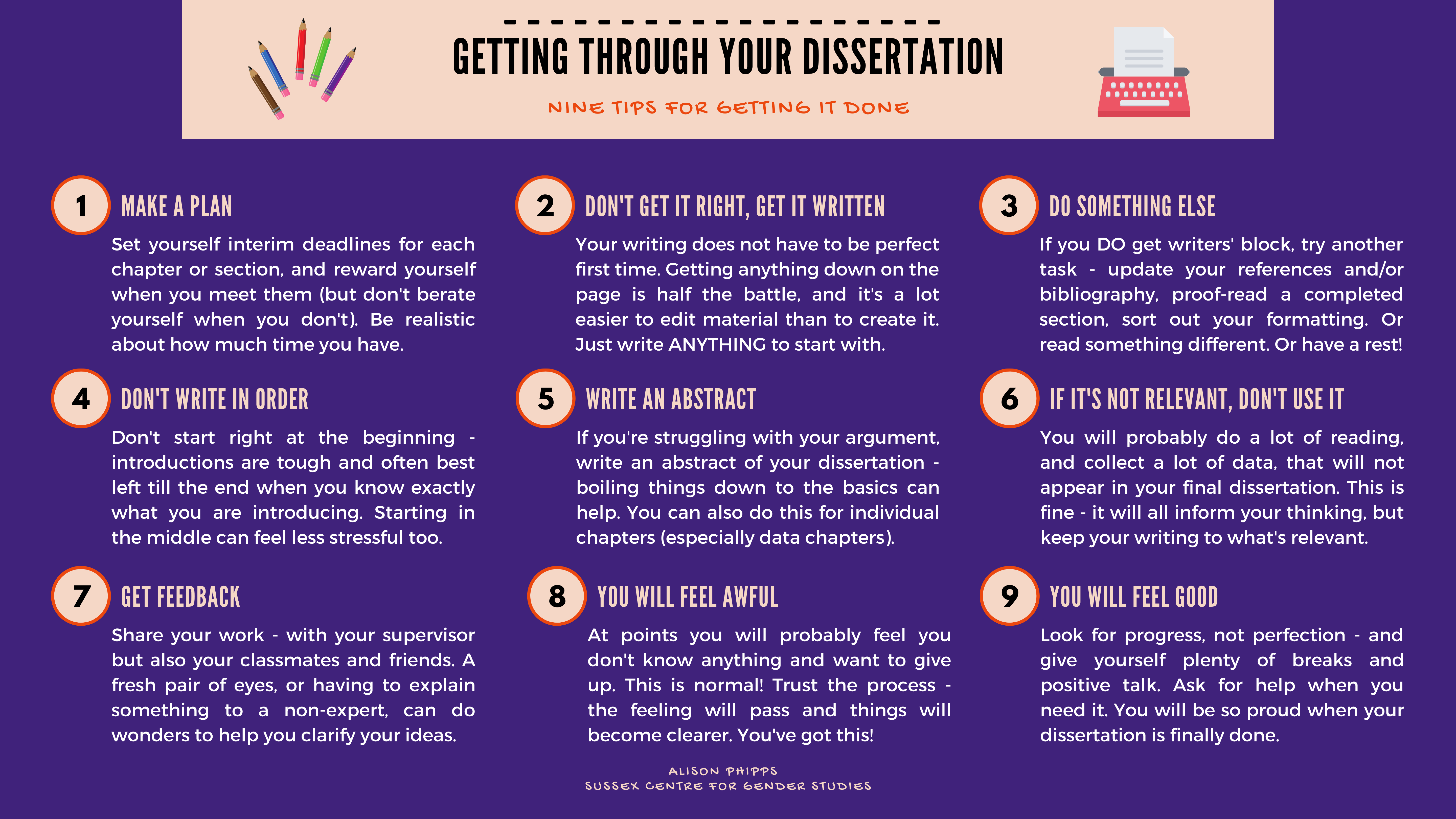 Getting through your dissertation: Nine tips for getting it done. Tips presented in infographic form on a blue background. For a text version, please see link under the image.